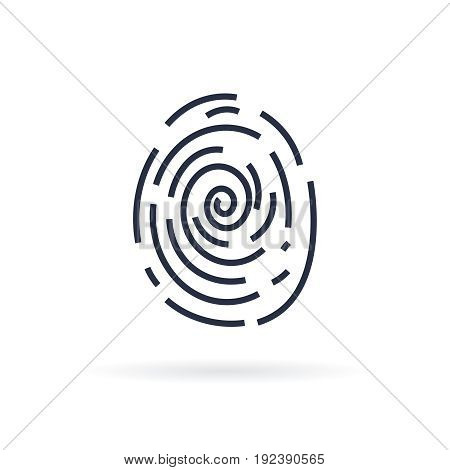 Human finger print vector icon on white background. Vector Icon, Isolated Sci-Fi Future Identification Authorization System. Line icon
