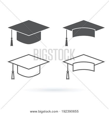 Graduation hat vector icon isolated on white background. Education icons set with students hat line icons and minimalistic icons