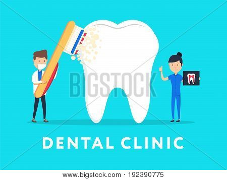Dental clinic concept design for web banners, infographics. Stomatology dentist at work. Flat style vector illustration. Dental Care micro dentist patient people and huge tooth healthcare concept.