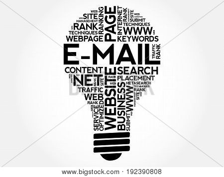 E-mail Bulb Word Cloud Collage