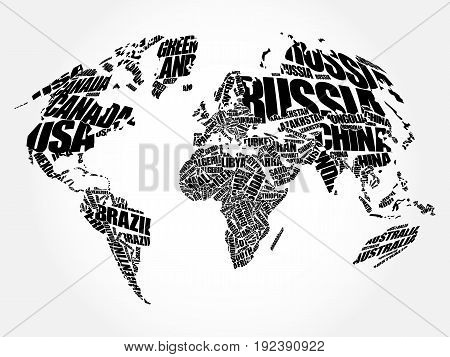 World Map in Typography word cloud concept names of countries