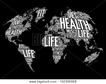 Health And Life World Map In Typography