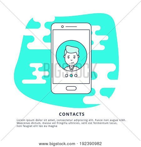 Thin Line Icon Concept of Contacts. Symbol of Connection, Support or Contacts.