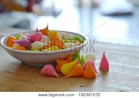 small allure colorful Thai candy on cup