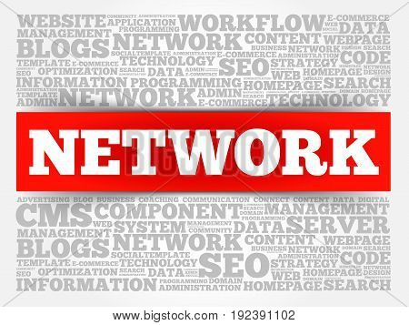 Network word cloud collage , business concept background