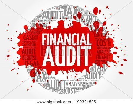 Financial Audit word cloud collage , business concept background