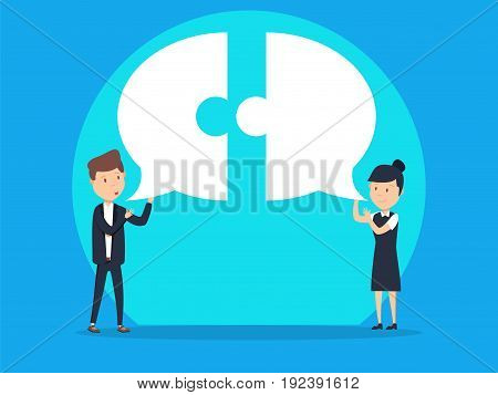 Business team communication with speech bubble. Concept business vector.