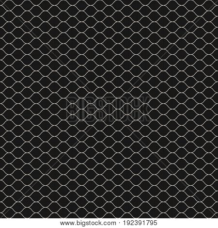 Vector seamless pattern, thin wavy lines. Dark texture of mesh, fishnet, lace, weaving, subtle lattice. Simple monochrome geometric abstract background. Design pattern, decor pattern, fabric pattern, digital pattern, web pattern.