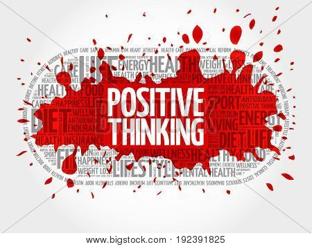 Positive thinking medical pill word cloud health concept background