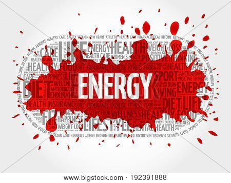 ENERGY word cloud fitness sport health concept