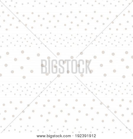 Polka dot pattern. Monochrome subtle texture in soft pastel colors white & beige. Abstract background with randomly scattered different circles. Design for decor, prints, covers, web. Seamless pattern.