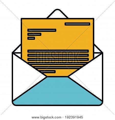 color sections silhouette of envelope mail opened with letter vector illustration