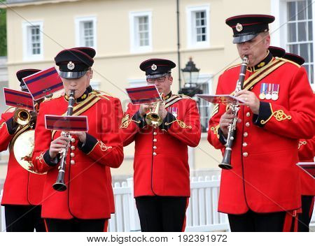 Sandhurst, Uk - June 18 2017: Brass And Woodwind Players Of The Military Band Of The Corps Of Royal