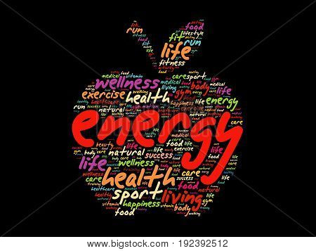 Energy Apple Word Cloud Collage