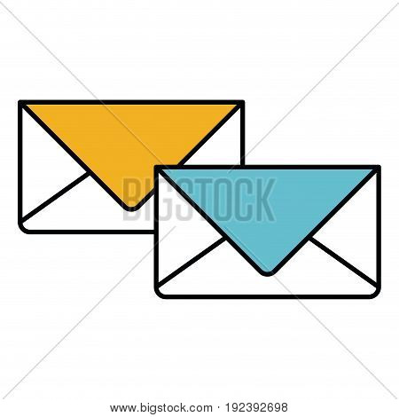 color sections silhouette of envelopes of mail vector illustration