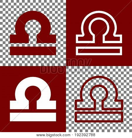 Libra sign illustration. Vector. Bordo and white icons and line icons on chess board with transparent background.