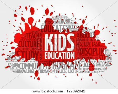 Kids Education Word Cloud Collage