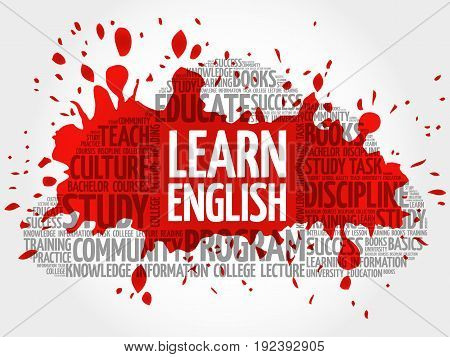 Learn English word cloud collage , education concept