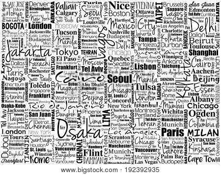 The Largest Cities In The World Word Cloud Collage