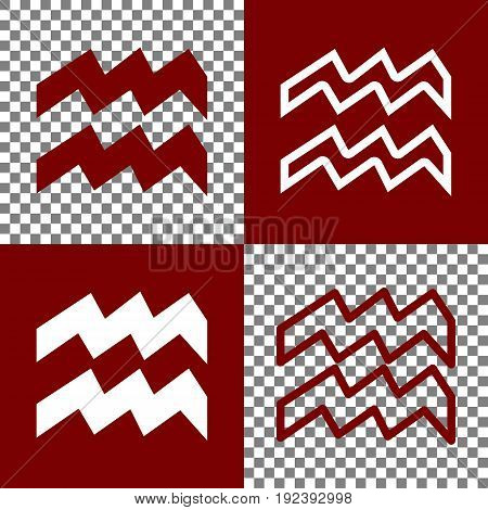 Aquarius sign illustration. Vector. Bordo and white icons and line icons on chess board with transparent background.