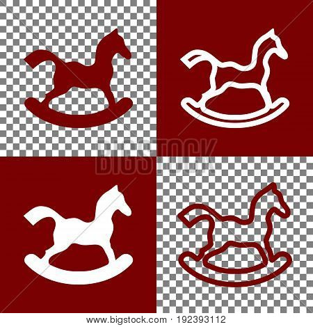 Horse toy sign. Vector. Bordo and white icons and line icons on chess board with transparent background.