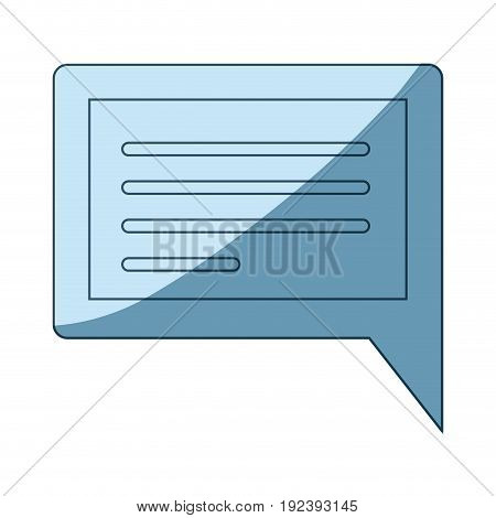 blue shading silhouette of rectangular dialogue in closeup vector illustration