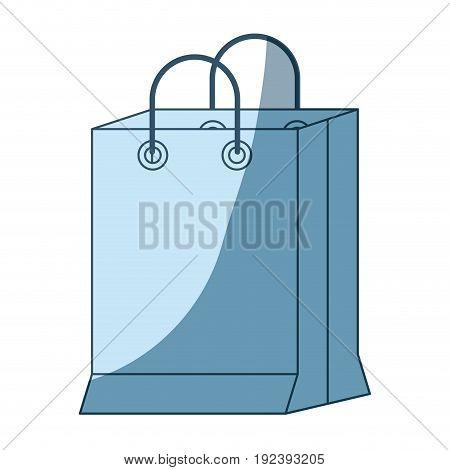 blue shading silhouette of shopping bag vector illustration