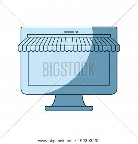 blue shading silhouette of desktop computer online store vector illustration