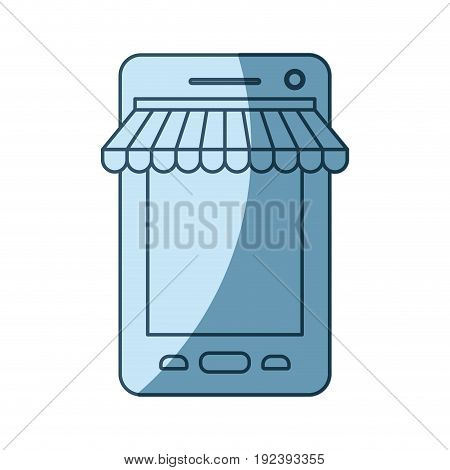 blue shading silhouette of smartphone online store vector illustration
