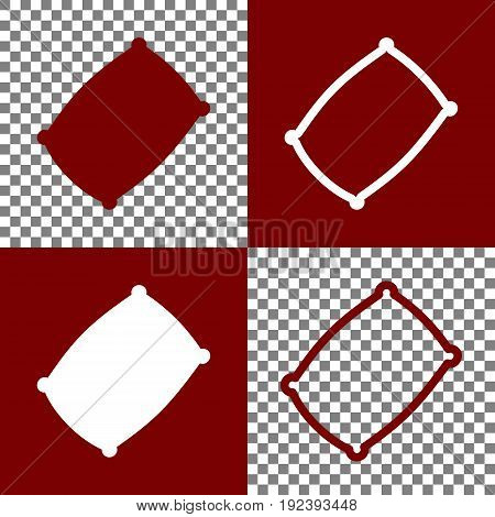Pillow sign illustration. Vector. Bordo and white icons and line icons on chess board with transparent background.