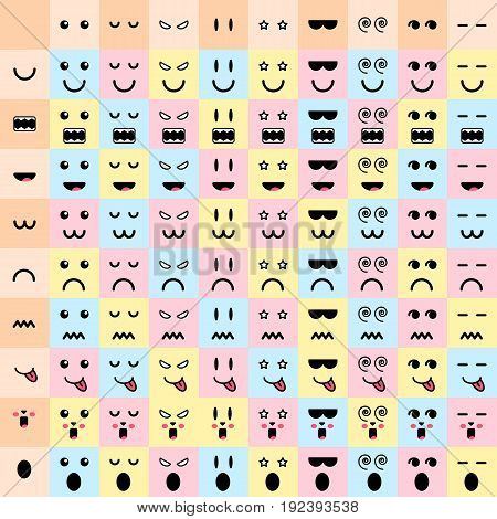 vector illustration. big set cute doodle monster mouth and eyes. 81monster faces. emotions