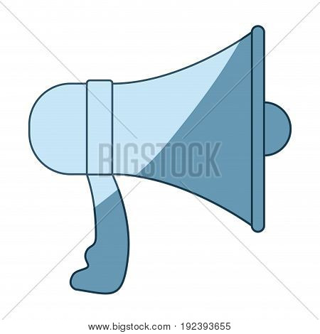 blue shading silhouette of megaphone vector illustration