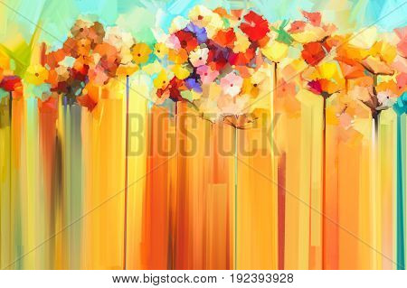 Abstract floral oil color painting. Hand painted Yellow and Red flowers in soft color. Flower paintings on yellow and red color background. Spring flower seasonal nature background