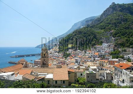 picturesque landscape Amalfi, Gulf of Salerno, Italy. Amalfi is included in the UNESCO World Heritage Sites