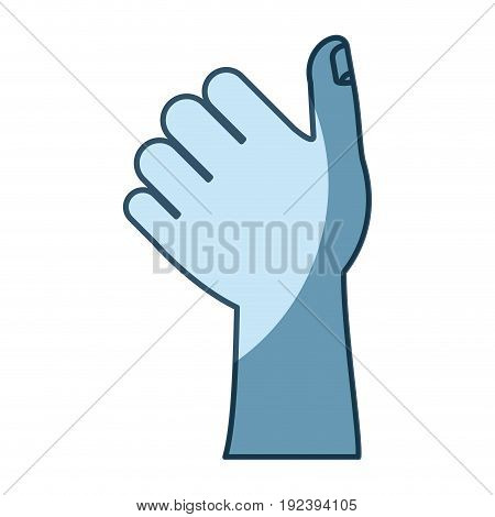blue shading silhouette of left hand thumb up vector illustration