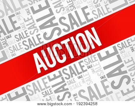 AUCTION words cloud , business concept background