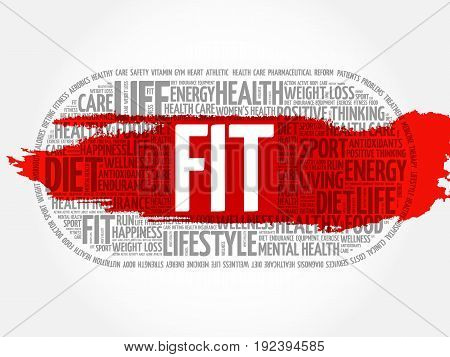 FIT word cloud collage background health concept