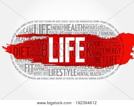 LIFE word cloud collage fitness health concept