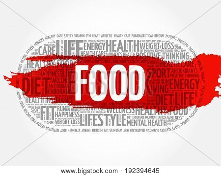 FOOD word cloud collage fitness health concept