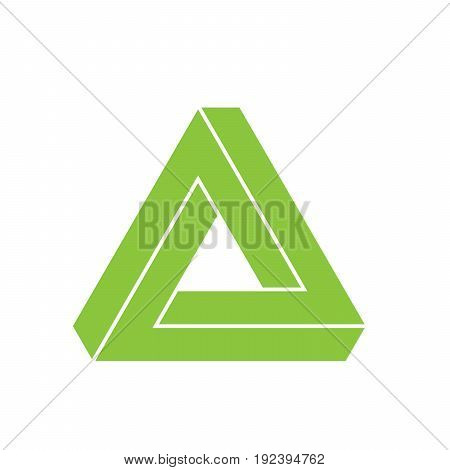 Penrose triangle icon. Geometric 3D object optical illusion. Green silhouette vector illustration.