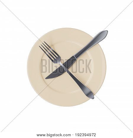 Empty beige plate with crossed fork and knife, isolated on white background. 3d illustration