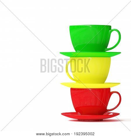 Stack of three cups with saucers isolated on white background. 3d illustration