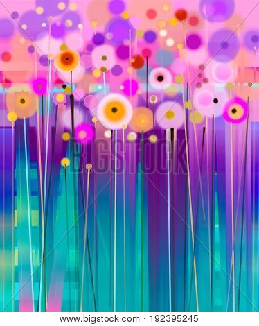 Abstract floral oil color painting. Hand painted Yellow and Red flowers in soft color. Flower paintings on yellow red and blue color background. Spring flower seasonal nature background