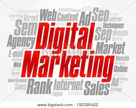 Digital Marketing Word Cloud Collage