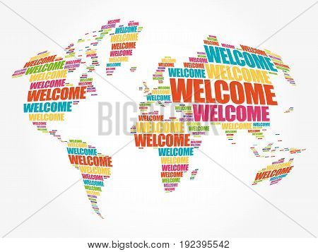 Welcome World Map In Typography Word Cloud