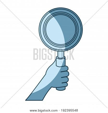 blue shading silhouette of hand holding magnifying glass vector illustration