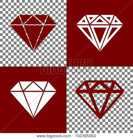Diamond sign illustration. Vector. Bordo and white icons and line icons on chess board with transparent background.