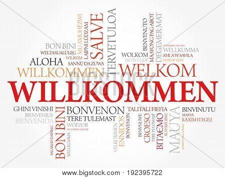 Willkommen, Welcome In German, Word Cloud