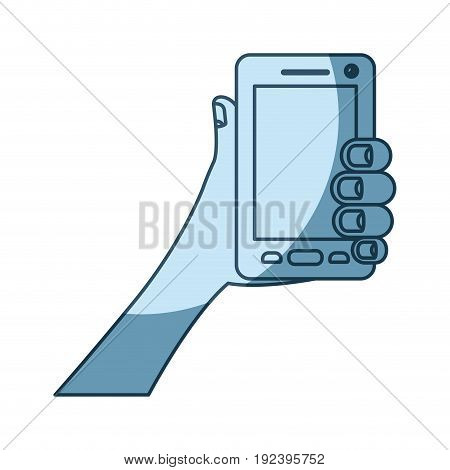 blue shading silhouette of hand holding smartphone vector illustration