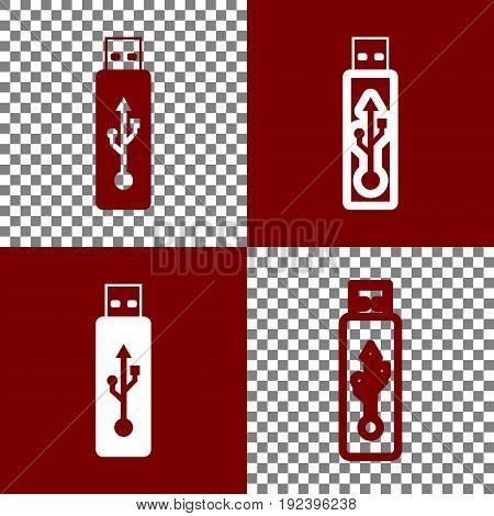 Vector USB flash drive sign. Vector. Bordo and white icons and line icons on chess board with transparent background.